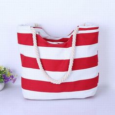 2016 Women Beach Canvas Bag Fashion Color Stripes Printing Handbags Ladies  Large Shoulder Bag Totes Casual eed53f9f17