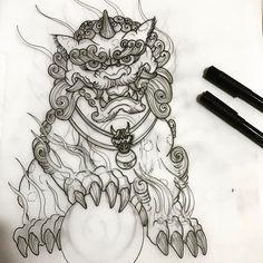 Dragons Forge Foo dog design Japanese Dragon Tattoos, Japanese Tattoo Art, Japanese Tattoo Designs, Baby Tattoos, Body Art Tattoos, Sleeve Tattoos, Cool Tattoos, Foo Dog Tattoo Design, Japan Tattoo Design