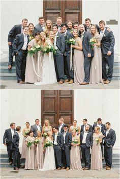 Wedding party in Charleston party groomsmen Beige Bridesmaids, Taupe Bridesmaid Dresses, Wedding Bridesmaids, Bridal Party Color Schemes, Wedding Colors, Party Colors, Wedding Decor, Taupe Wedding, Blue Suit Wedding