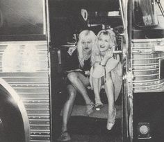Courtney Love & Kat Bjelland on the Babes In Toyland Lollapalooza tour bus. 1993.
