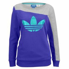 Stealing our boyfriend's style! #sweatinstyle #inspiredbyhim  adidas Boyfriend Crew Sweatshirt - Women's - Medium Grey Heather/Blast Emerald/Blast Purple