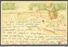 KH029 ART NOUVEAU ENFANTS CYGNES VICTORIAN CHILDREN SWANS Fine LITHO 1904 - Illustrateurs & Photographes