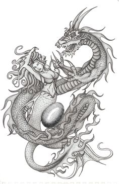 Image result for dragon and mermaid