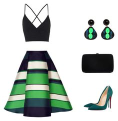 """Black and Green"" by alina-w ❤ liked on Polyvore featuring Lanvin, Christian Louboutin, Topshop, Marni, Sergio Rossi, women's clothing, women's fashion, women, female and woman"