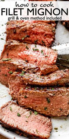 Perfect Filet Mignon cooked two different ways - pan seared and finished in the oven, or grilled! This easy filet mignon recipe is juicy and tender.