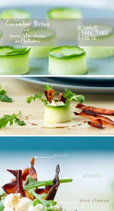 Cucumber bites with bacon, blue cheese and balsamic | www.haveanotherbite.com | #cucumber #recipe #appetizer