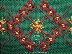 Color con Estilo: Diseño N°2 Hardanger. Toalla verde con bordado hardanger Hardanger Embroidery, Paper Embroidery, Embroidery Stitches, Embroidery Patterns, Hand Embroidery Videos, Hand Embroidery Flowers, Cross Stitch Designs, Cross Stitch Patterns, Crochet Doily Patterns