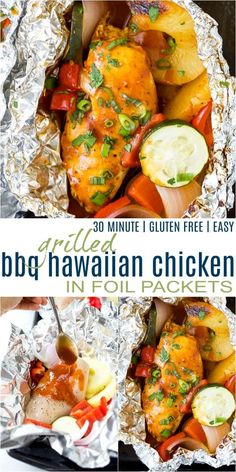Grilled BBQ Hawaiian Chicken in Foil Packets with fresh vegetables, pineapple slices and a sweet salty bbq sauce that's grilled to perfection! This easy foil packet meal will be your new favorite dinner recipe this summer! #packetsgrill #grilledhawaiianbbq #hawaiianmarinade Best Grill Recipes, Easy Chicken Recipes, Grilling Recipes, Chicken In Foil, Chicken Foil Packets, Foil Pack Meals, Foil Dinners, Clean Eating Recipes, Healthy Dinner Recipes
