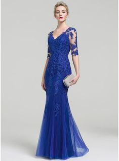 Trumpet/Mermaid V-neck Floor-Length Tulle Lace Evening Dress