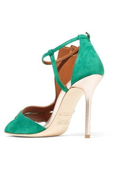 Malone Souliers - Rosie Metallic Leather-trimmed Suede Sandals - Emerald - IT36.5