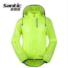 Santic Green Cycling Raincoat WindProof Jacket Men Waterproof Outdoor MTB Downhill Cycling Jersey Anti-pilling Cycling SK0026