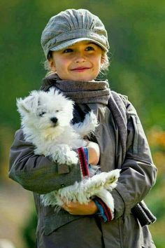 Girl with her puppy.