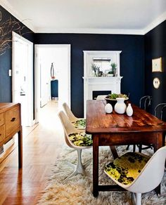 Blue Navy Dining Room Wall Painting (I like everything but the rug and chairs)