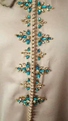 Yes, I would put this on the back, right down the spine. Zardozi Embroidery, Bead Embroidery Patterns, Hand Work Embroidery, Hand Embroidery Designs, Beaded Embroidery, Abaya Designs, Designs For Dresses, Embroidery Fashion, Beads