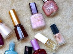 old vintage nail polishes from loreal, maybelline, revlon, avon