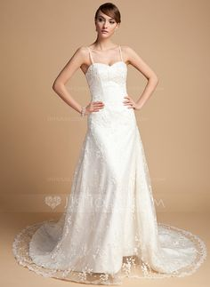 Not sure about the straps but the lightness of this dress is super flirty/pretty  Wedding Dresses - $186.99 - A-Line/Princess Sweetheart Chapel Train Satin Lace Wedding Dress With Beading (002014722) http://jjshouse.com/A-Line-Princess-Sweetheart-Chapel-Train-Satin-Lace-Wedding-Dress-With-Beading-002014722-g14722