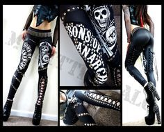 I want these pants so bad it's not even right. Unique biker chick style Sons of Anarchy studded leggings in black leather look lycra reaper logo, studded Sons of Anarchy text and sexy studded lace up panels. Biker Chick Outfit, Biker Chick Style, Gemma Styles, Sons Of Anarchy, Glamour, Biker Girl, Selfie, Cool Outfits, Edgy Outfits