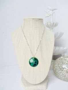 Navy and Emerald Swirl Necklace by InstinctBoutique on Etsy