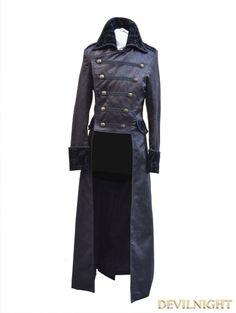 Black Double-Breasted Gothic Long Jacket for Men - Devilnight.co.uk