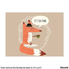 Cute cartoon fox having tea time postcard