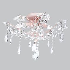 279 Kids Ceiling Flush Mount Chandelier Crystal Pink Decor Light Fixture Lighting