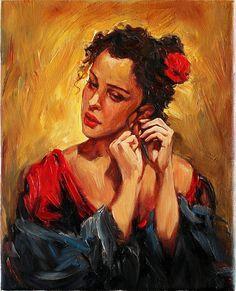 Girl in Garden with Flowers Original Oil Painting by AnastassiaArt ...