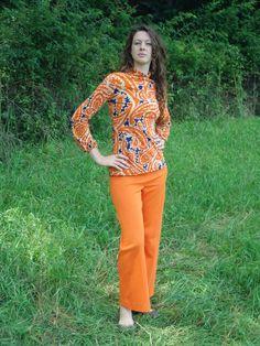S 60's Paisley Turtleneck Wool Orange by SerendipityCircus on Etsy