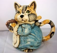 Calico Cat Kitty Pitcher Teapot Container Ceramic Hand Painted Green Eyes Large | eBay