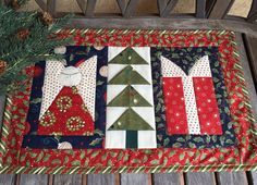 13 x 20.5 Countdown to Christmas Candle Mat  Holiday by knjStudio