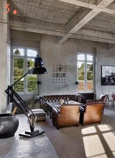 There are two main ways you can use to create industrial decorations in your living room. You can get inspiration by looking at the industrial living room design idea we have selected here. Industrial Interiors, Industrial House, Industrial Style, Industrial Bedroom, Industrial Design, Vintage Industrial, Industrial Apartment, Apartment Interior, Vintage Modern