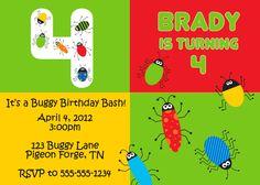 Bug Birthday Party Invitation-Digital File 5 X 7. $10.00, via Etsy.