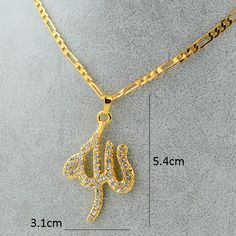 Find More Chain Necklaces Information about Simple Design Allah Necklaces Chain & Charm Pendants 18k Yellow Gold Plated Filled Exquisite Islam Jewelry Middle Eastern ,High Quality Chain Necklaces from Golden Mark Jewelry Factory on Aliexpress.com