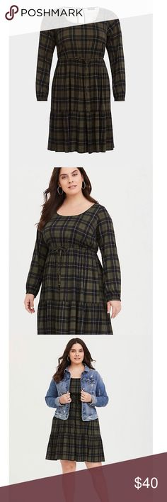 48c3a7e3de0 Torrid Olive Plaid Challis Skater Dress size 2 A casual skater dress made  from wonderfully soft fabric has a drawstring stretch waist that nips you  in to ...