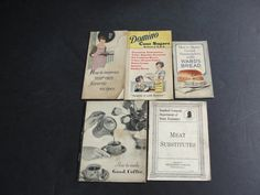 For your consideration is a Lovely Vintage Set of (5) Booklets with sampler Favorite recipes in 1920's, 1930's  They are as follows: 1.Meat Substitutes