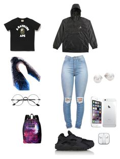 Spring mornings by fovever-flawless on Polyvore featuring polyvore, fashion, style, NIKE, JanSport, Mikimoto, Chicnova Fashion, A BATHING APE and clothing