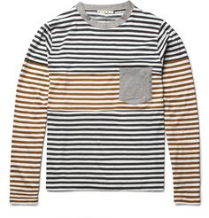 MarniLong-Sleeved Panelled Striped Cotton T-Shirt|MR PORTER