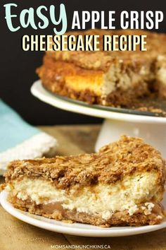 Need a quick and easy dessert recipe to serve a crowd? This filling yet tasty Apple Crips Cheesecake Recipe is an oat Apple Crisp Pie, Apple Crisp Cheesecake, Caramel Apple Crisp, Apple Crisp Easy, Apple Crips, Baked Cheesecake Recipe, Apple Pie, Cheesecake Strawberries, Cheesecake Cake