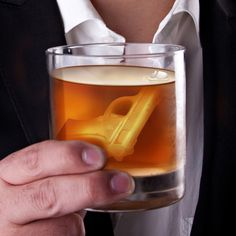 Gun shaped Icecubes and  would be cool for any cold drink