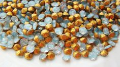 Vintage 24ss Turquoise Blue & Clear Givre Rhinestones  by alyssabethsvintage