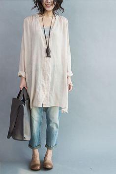 Art Casual Loose Long V-neck Cotton Shirt Women Clothes– FantasyLinen Mode Outfits, Casual Outfits, Fashion Outfits, Fashion Ideas, Hijab Casual, Casual Clothes, Ladies Fashion, Casual Dresses, Women's Fashion