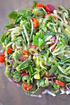 Spiralized Greek cucumber noodles salad (ThisVeganGirl) Dressing: 6 Tbs olive oil 2 Tbs balsamic vinegar 2 Tbs Lemon juice 2 Tbs dried oregano 1/2 tsp fine grain salt  Salad: 2 lg cucumbers, spiraled 1 cup Castlevetrano olives, cut into 3rds 1 cup tomatoes diced 2/3 cup red onion, finely chopped 2 avocados pitted & diced 2 cups spinach, chopped