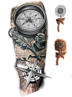 Cool Forearm Tattoos, Arm Sleeve Tattoos, Tattoo Sleeve Designs, Arm Tattoos For Guys, Tattoo Designs Men, Clock Tattoo Design, Compass Tattoo Design, Nautical Tattoo Sleeve, Compass And Map Tattoo