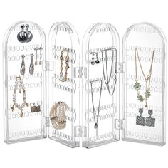 Amazon.com - Beautify Jewelry Hanger Organizer - Foldable Acrylic Earring, Necklace & Bracelet Holder Display Screen Stand -