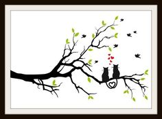 Cats In Love On A Tree Cross Stitch Pattern - Cross Stitch Patterns