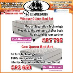 With so many specials running at the Drommedaris at the moment one needs to figure out which you want the most. Like these Rest Assured Mattress and base sets giving you 2 options to suit your pocket. Visit us this weekend and cash in on the savings. #lifestyleproducts #goodnightsrest #homeimprovement