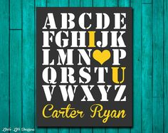 ABC I Love You - Alphabet Wall Art - ABC Poster - Alphabet Letters - Personalized Nursery Decor - Childrens Wall Decor