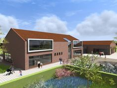 Impressie van het Kulturhus in Drempt, met links de school en rechts het dorpshuis. illustratie Jorissen Simonetti architecten