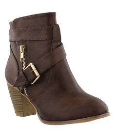 Liliana Footwear Brown Laguna Chunky Bootie | zulily