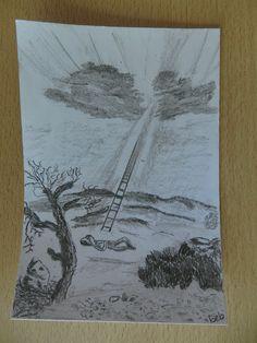 Thema : Jacobsladder  Jakob verliet dus Berseba en ging op weg naar Charan. Op zijn tocht kwam hij bij een plaats waar hij bleef overnachten omdat de zon al was ondergegaan. Hij pakte een van de stenen die daar lagen, legde die onder zijn hoofd en ging op die plaats liggen slapen. Toen kreeg hij een droom. Hij zag een ladder die op de aarde stond en helemaal tot de hemel reikte, en daarlangs zag hij Gods engelen omhoog gaan en afdalen. Gen 28:10-12
