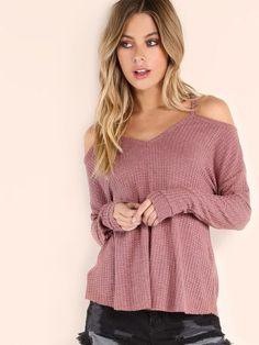 Camiseta de punto con hombros al aire - rosa -Spanish SheIn(Sheinside) Sitio Móvil